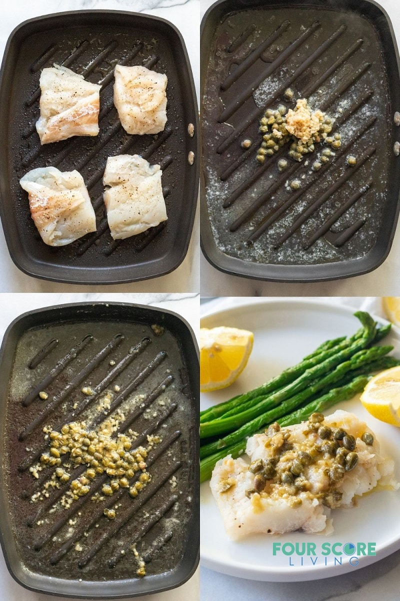 a collage of four images that detail the steps in making this recipe using a grill pan.