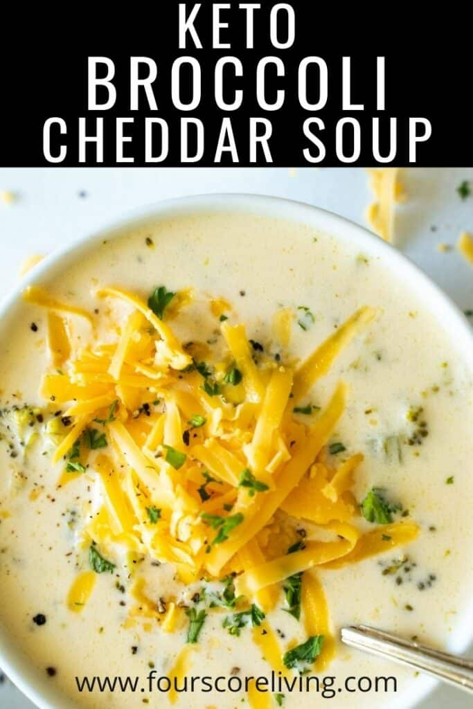 Top down view of broccoli cheddar soup in a bowl with the words 'keto broccoli cheddar soup'