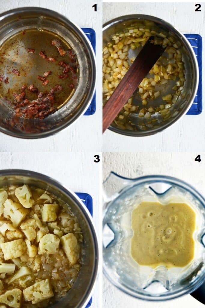 Photo collage of the steps needed to make keto cauliflower soup