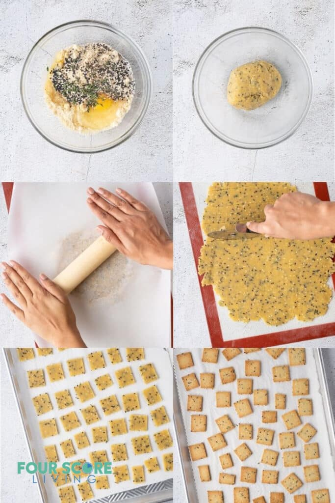 photo collage of six steps for making keto crackers