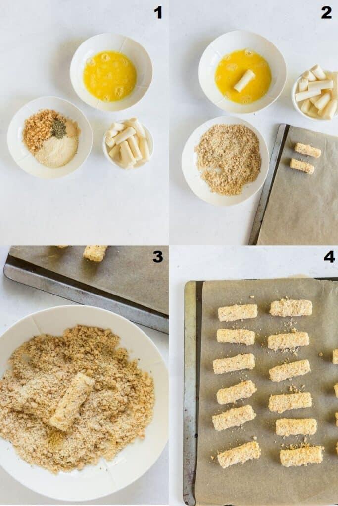 Photo collage of four steps to make keto mozzarella sticks