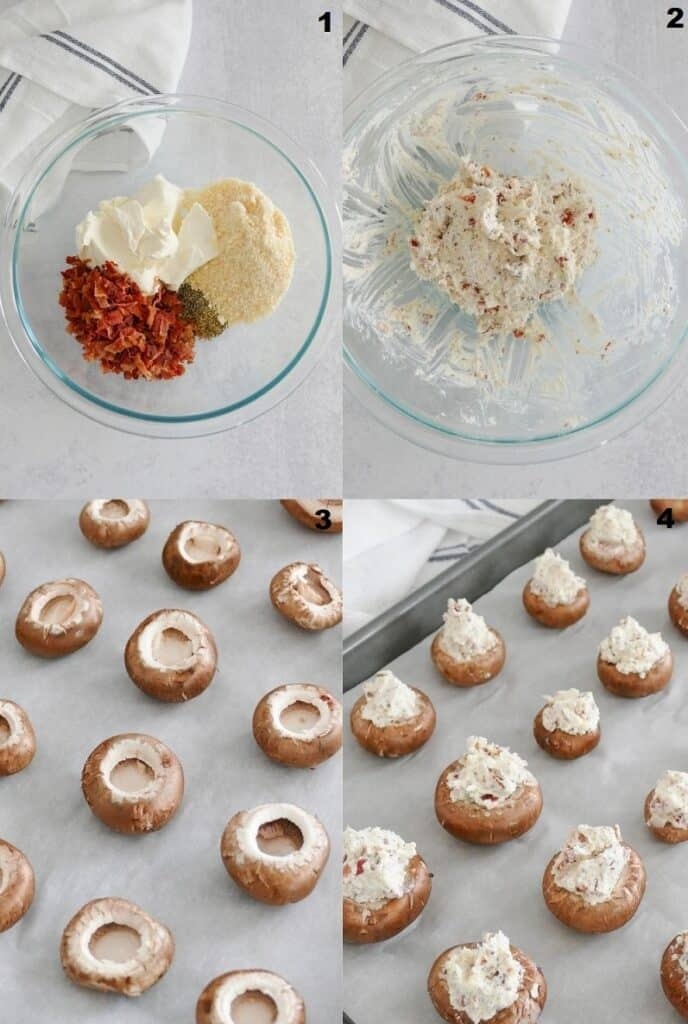 Photo collage showing four steps for making Keto stuffed mushrooms.