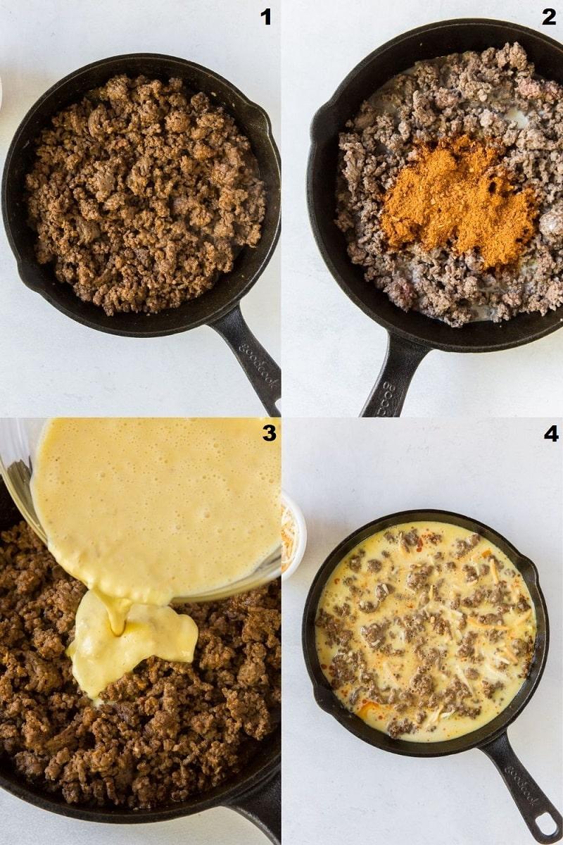 Photo collage of four steps to making keto taco pie.