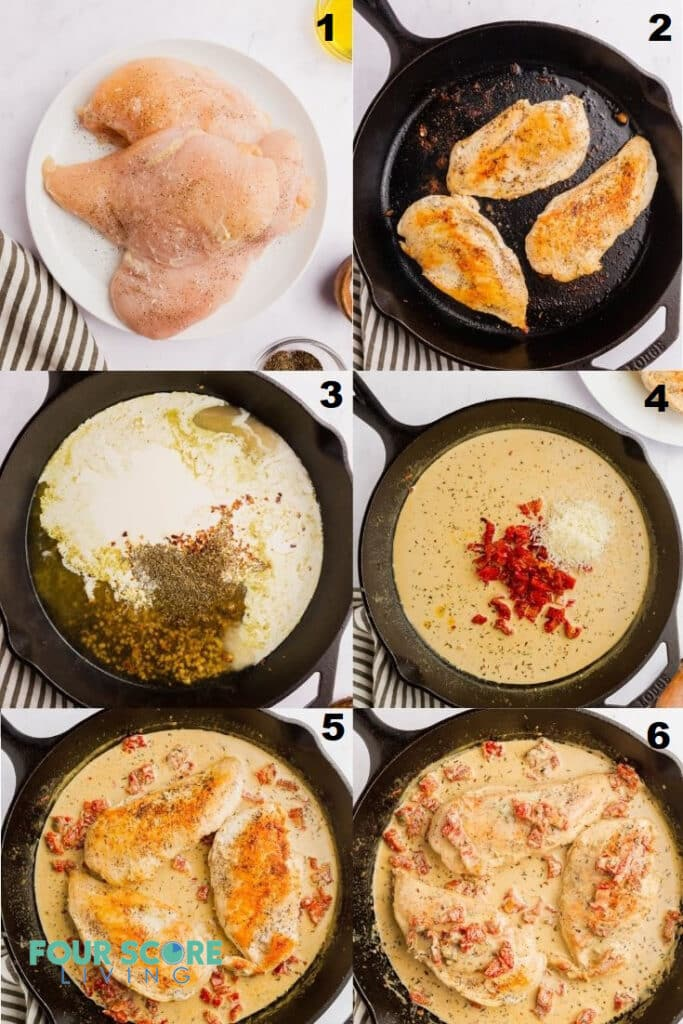 Photo collage of six steps to make marry me chicken in a cast iron skillet.