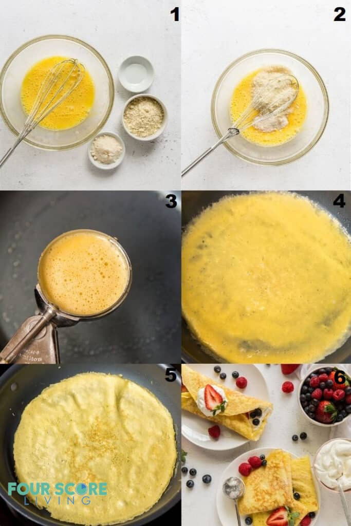 photo collage of six steps to making keto crepes.
