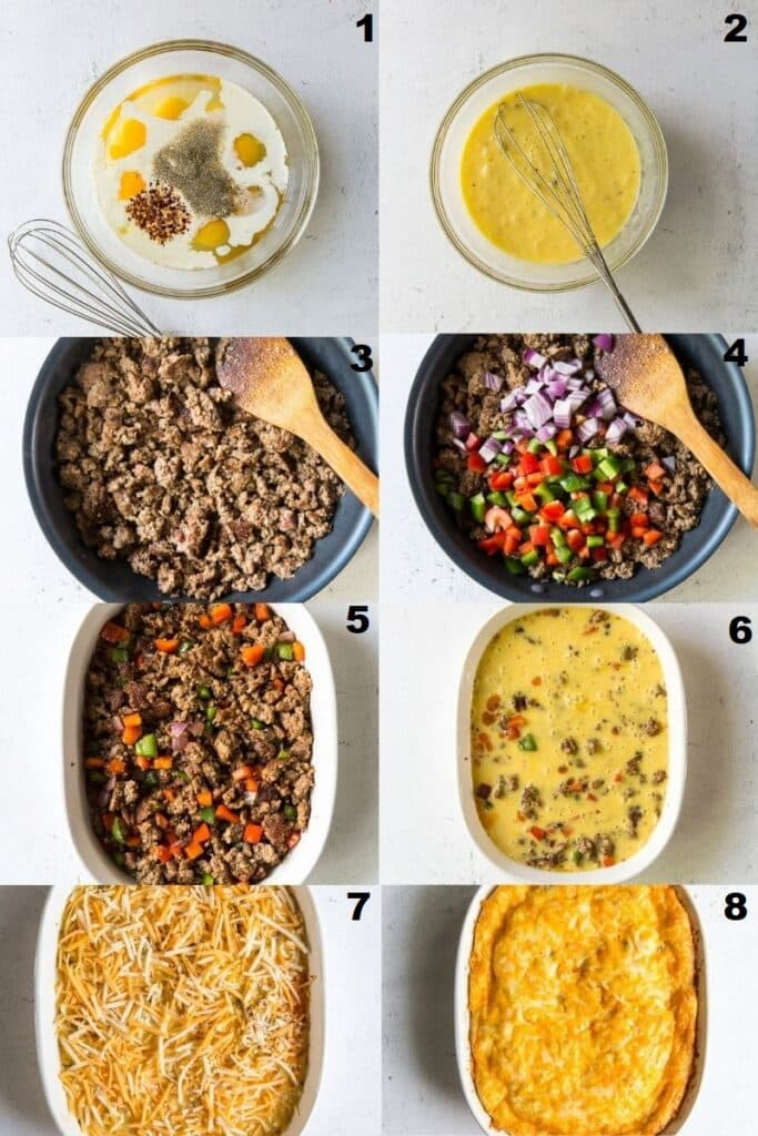 photo collage of 8 steps needed to make keto breakfast casserole