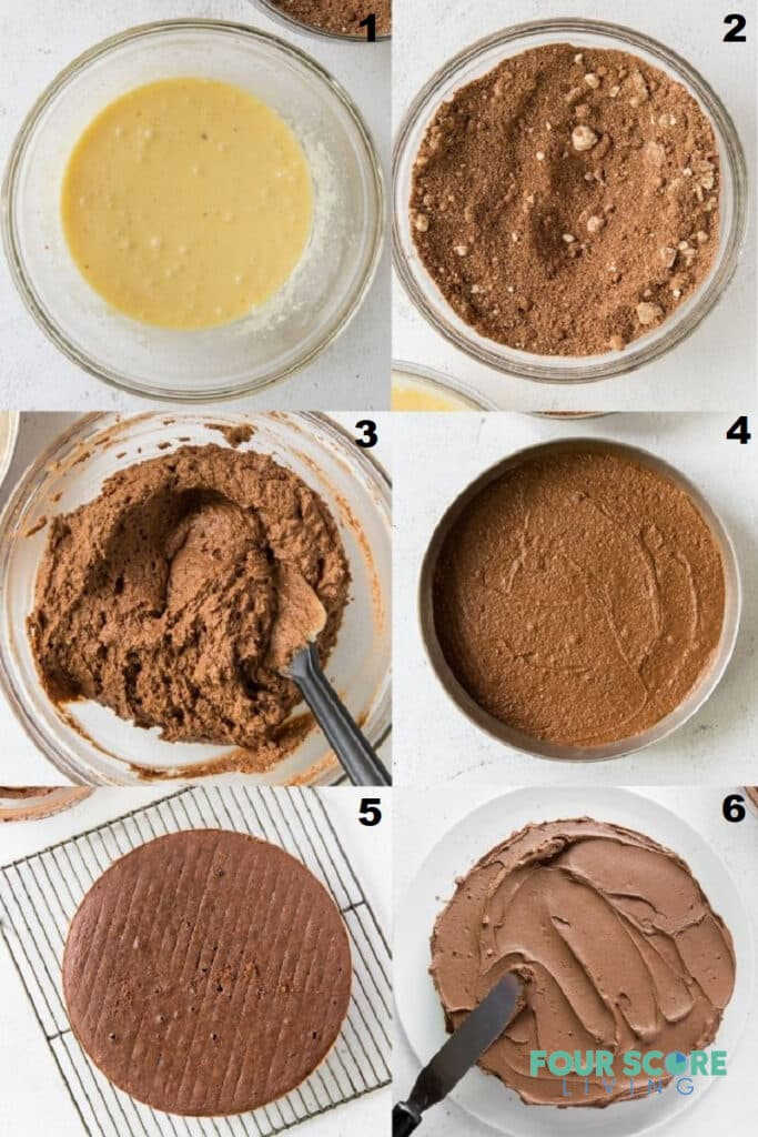 photo collage of six steps to make keto chocolate cake.