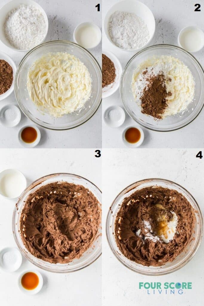 Photo collage of four steps to make keto chocolate frosting.