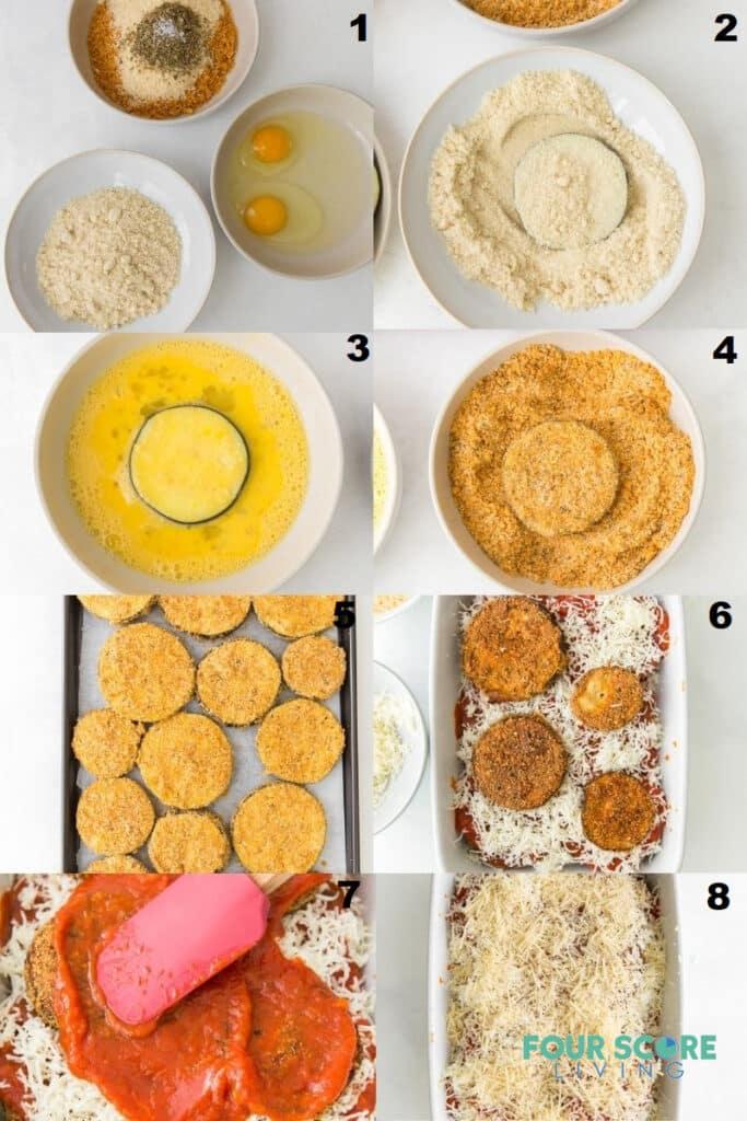 photo collage of 8 steps to make keto eggplant parmesan