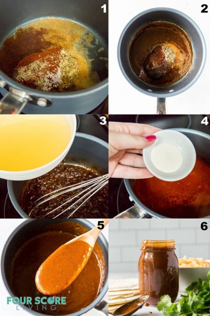 photo collage for six steps for making keto enchilada sauce