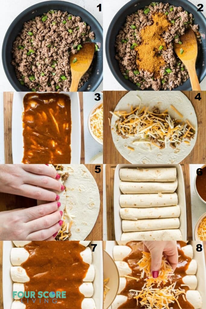 A photo collage of eight steps for making keto enchiladas.