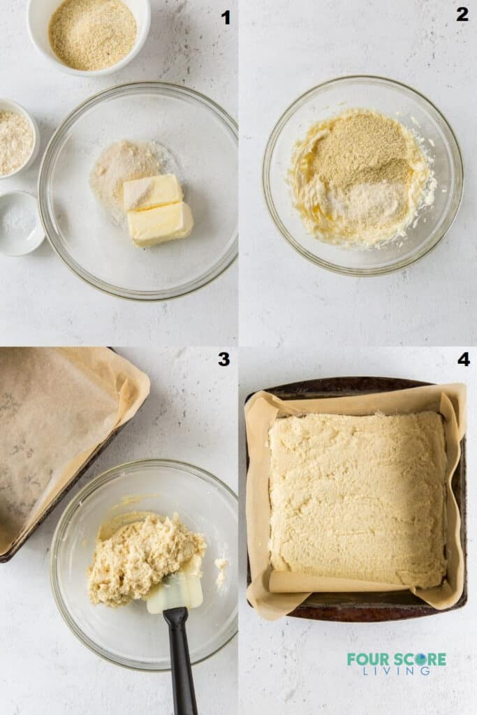 photo collage of four steps to make keto lemon bar crust
