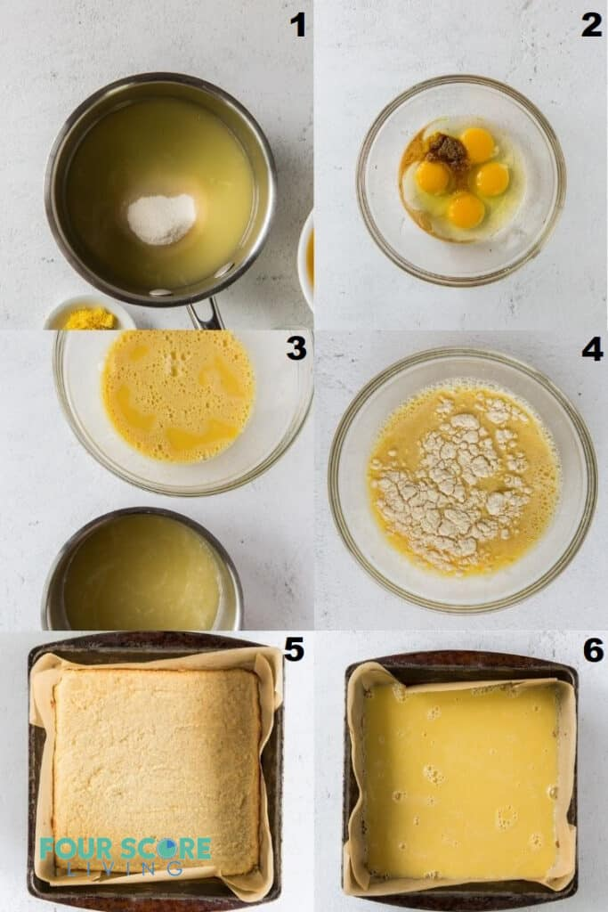 Photo Collage of sex steps to make Keto lemon bars