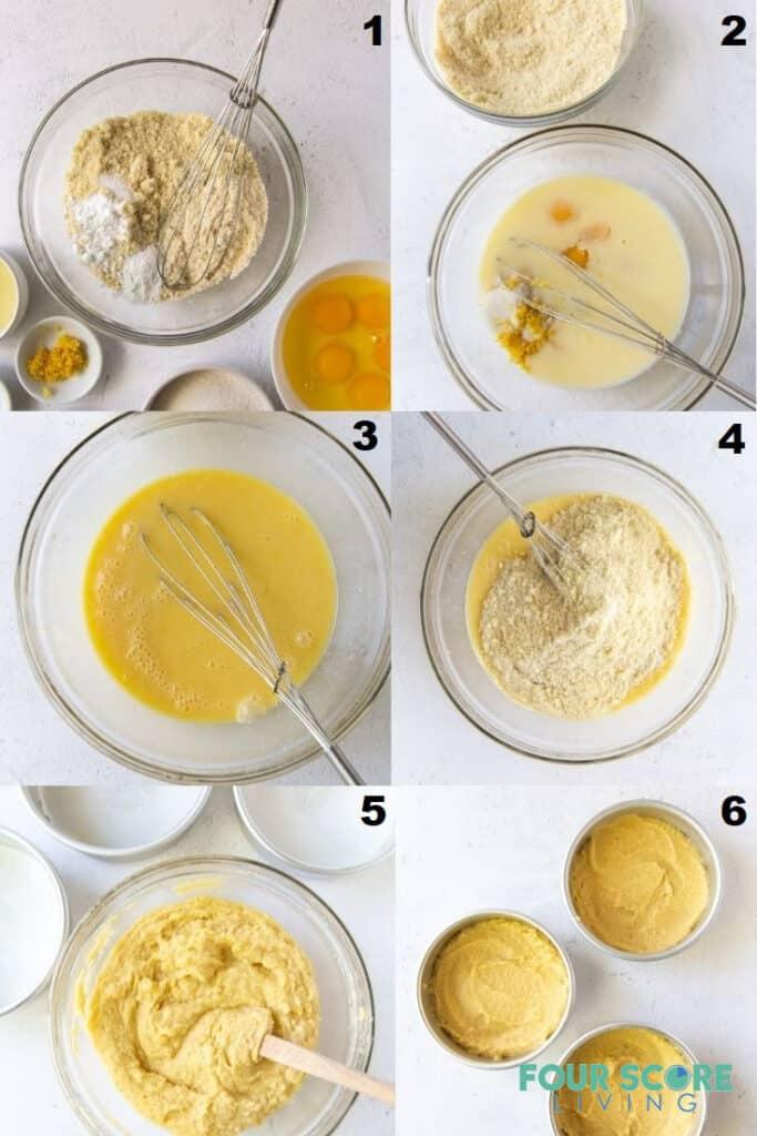 photo collage of 6 steps to make keto lemon cake.