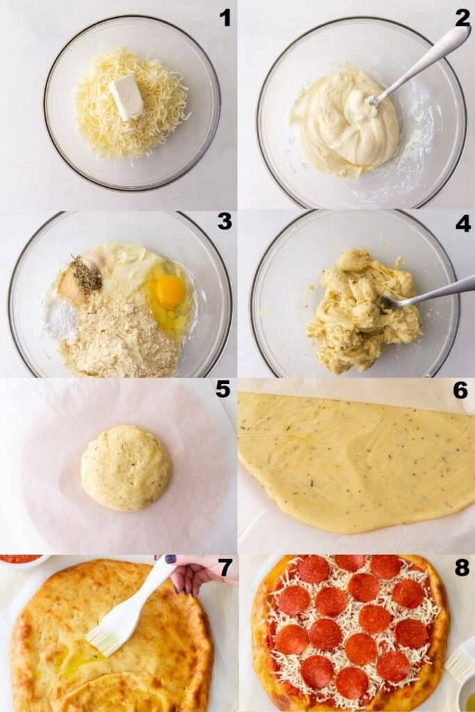 photo collage of 8 steps for making keto pizza