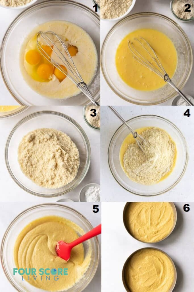 photo collage of 6 steps to make keto vanilla cake.