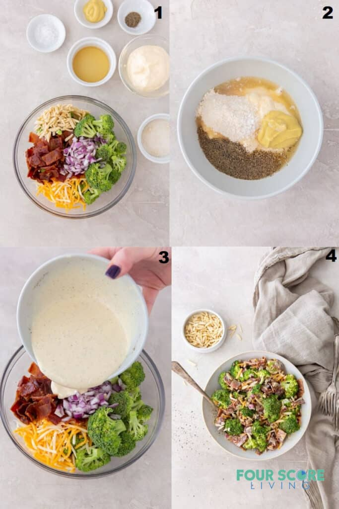 A photo collage showing four steps to take when making cold broccoli salad