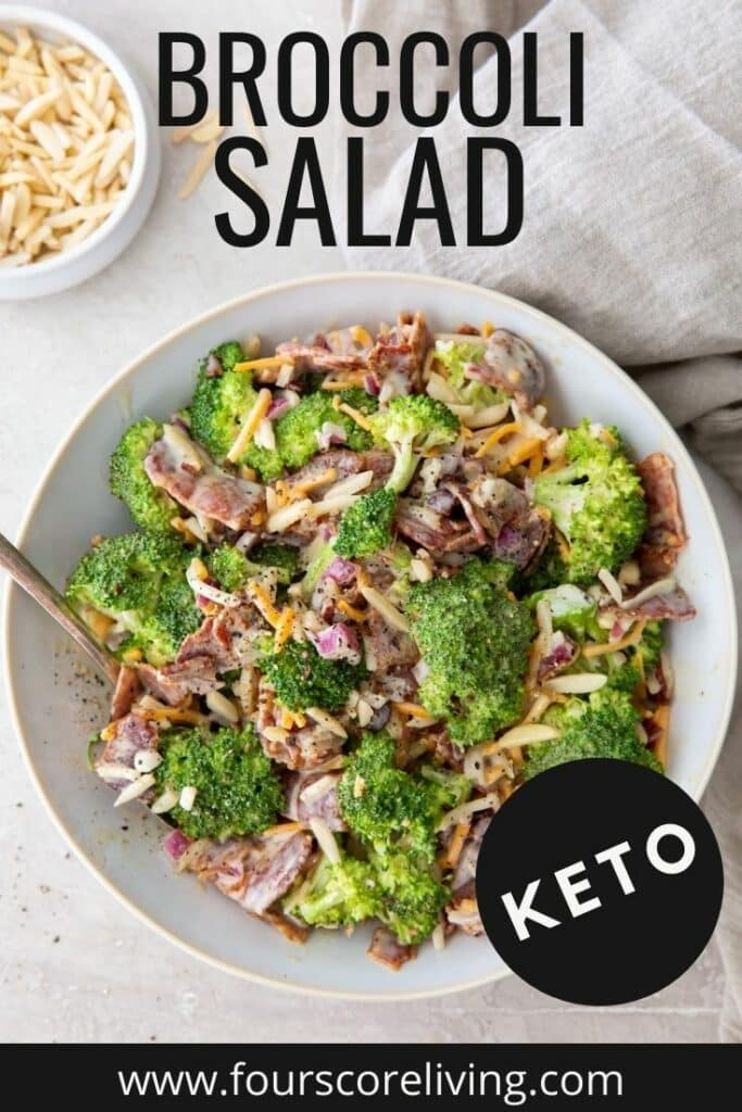 a bowl of keto broccoli salad, with a title over the image.
