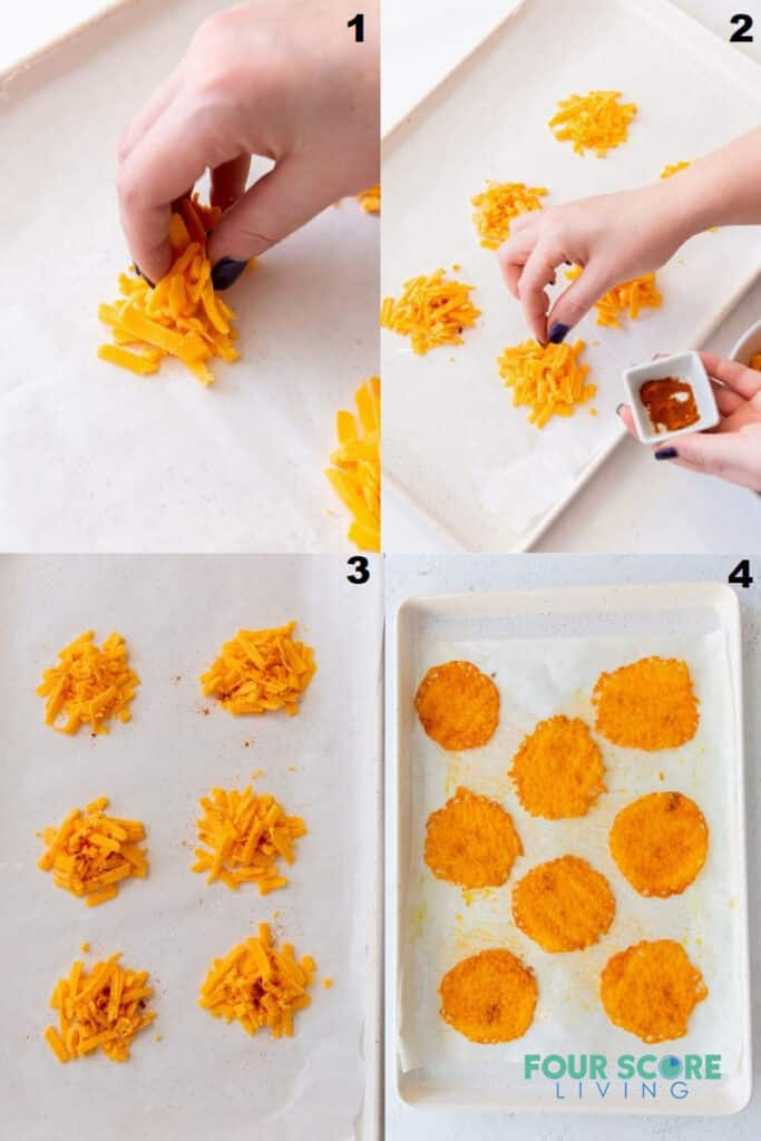 a photo collage showing four steps to take when making cheese chips