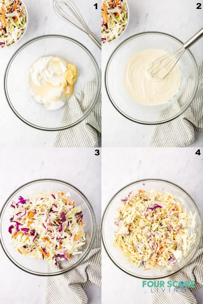 a collage of four photos showing steps to make keto coleslaw