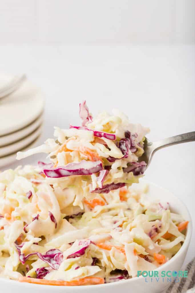 a fork with keto coleslaw