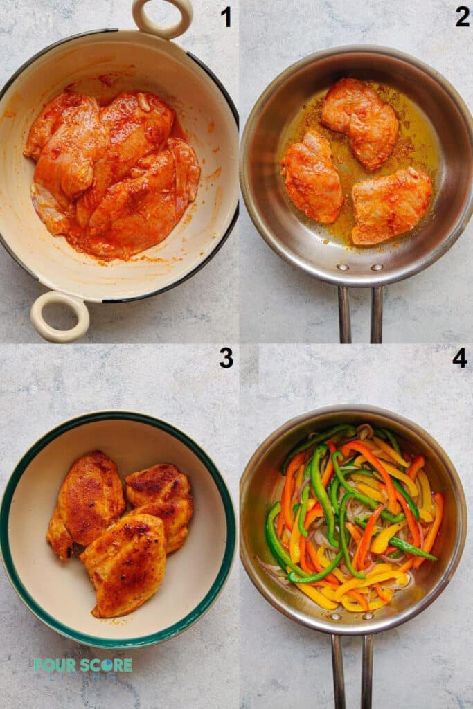 a collage of four photos showing how to make keto chicken fajita meat